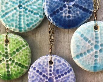"""Purple Sea Urchin Pendant  with 30"""" Rolo Chain"""