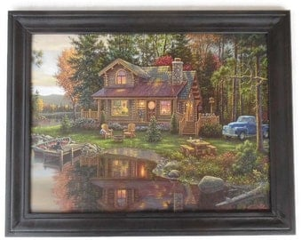 Cabin by the Lake, Kim Norlien, Art Print, Log Cabin, Country Decor, Wall Decor, Wall Hanging, Handmade, Custom Wood Frame, Made in the USA