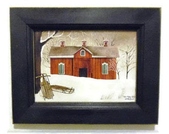 Seasonal Decor, New Fallen Snow, Billy Jacobs, Winter Scene, Barn and Sled, Art Print, Handmade, 9X7, Custom Wood Frame, Made in the USA