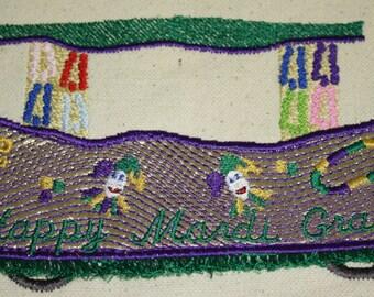 Mardi Gras Float machine embroidery design