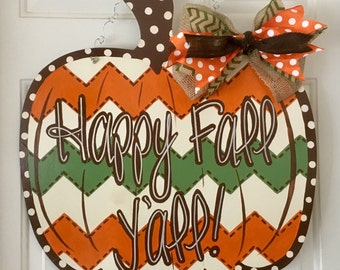Pumpkin Door Hanger, Fall Door Hanger, Custom Door Hanger, Fall Home Decor