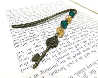 SALE! Bronze Key Bookmark with Crystal Beads, Beaded Bookmark, Amber + Green Bookmark, Metal Bookmark, Readers, Student Gift, Teachers Gift