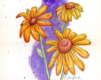 Sunflowers Watercolor Print