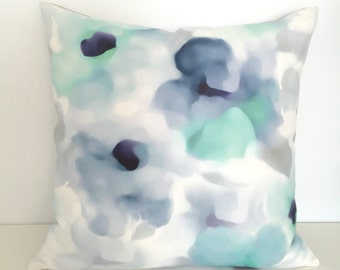 Blue Watercolor Pillow Cover, Aqua Pillow Case, throw cushion Handmade in Canada Quality Linen pillow cover, toss pillow case by SenayStudio