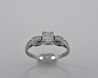 Antique Engagement Ring .50ct. Diamond & 18K White Gold - J35576