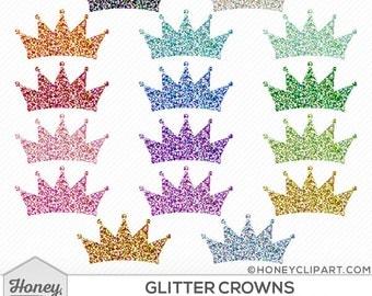 Digital glitter crown clipart: crown shapes, princess crown, tiara clip art, sparkly crown download, silver crown, blue crown, pink crown