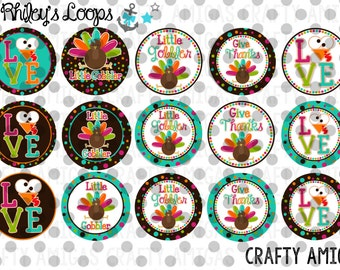 Fall Little Gobbler Thanksgiving Turkey Love Bottle Cap Images
