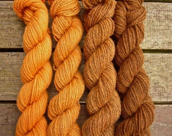 Hand dyed gradient yarn Shetland 4ply 'Chocolate Orange'