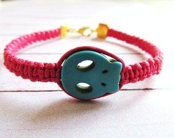 Neon Friendship Bracelet with Golden Skull 18 cm / 7 inches Bohemian Boho Hippie Ibiza Arm Candy