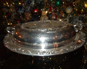 F B ROGERS Silver Plate Casserole Dish with Lid