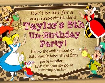 Alice in wonderland Birthday Invitation, mad hatter birthday Invitation, mad hatter tea party invitation- Digital file-PERSONALIZED