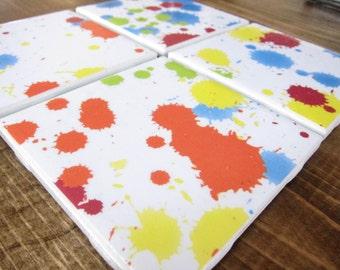 Colorful Tile Coasters, Paper Coasters, Coasters, Drink Coasters, Ceramic Coasters, Table Coasters