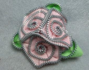 Pink Flower Brooch - Zipper Rose Pin