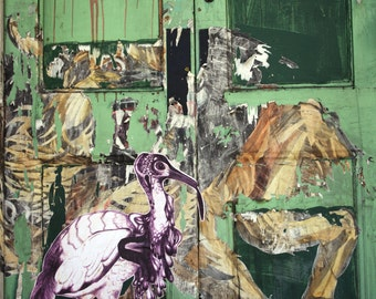 Street art print London door paste up collage of lion and bird in green - LIMITED EDITION