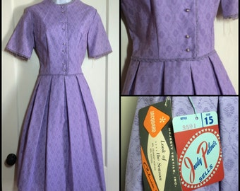 Deadstock early 1960's Judy Palmer Purple Formal Summer Dress looks size Medium 28 inch waist NOS NWT Lavender Jacquard Jackie O First Lady