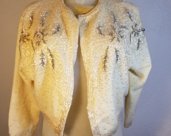 FREE  SHIPPING  1950 Sequin Bead  Cardigan