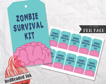 Zombie Survival Kit Birthday Favor Tags