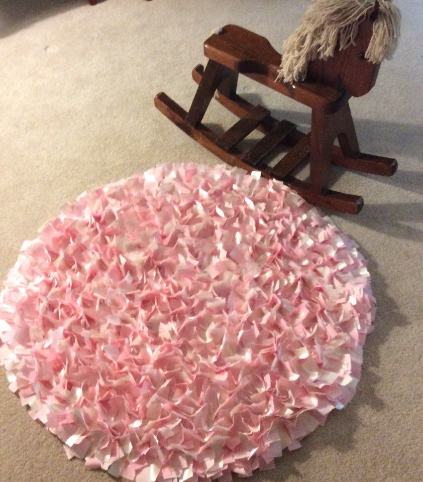 Shabby Chic Rag Rug Baby Pink Pink & Ivory Satin Boho Chic