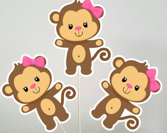 Monkey Centerpieces, Monkey Decorations, Monkey Centerpiece, Monkey Birthday, Monkey Baby Shower, Girl Monkey Centerpieces, (4217237P)