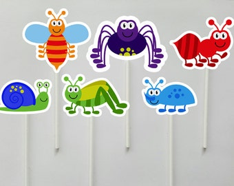 Bug Cupcake Toppers, Cute Bugs, Bugs Birthday, Bug Party, Insect Cupcake Toppers