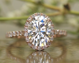 Oval Halo Engagement Ring in Rose Gold, Oval Cut Forever Brilliant Moissanite, Diamond Halo, 9x7mm, 2.25ct, Fit Flush Design, Hadley