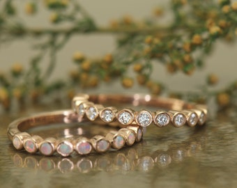 Bezel Set Bubble Bands with Opal and Diamond, Bezel Set Stacking Bands, Round Brilliant, 1/2 Eternity, Stackable, Cadence B & Cadence C
