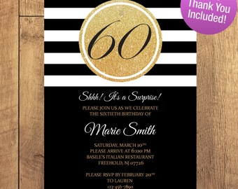 Suprise 30 40 50 60 70 80 Birthday Invitation FREE THANK YOU Included