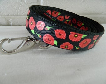 Red Poppies on Black Dog Leash