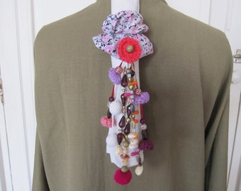 Pink, white, purple, Plum, fabric, beads, tassels, flowers, shells original scrunchy