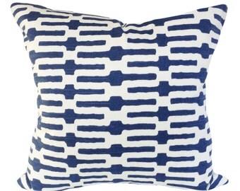Indigo Trellis Annie Selke Pillow Cover - Throw Pillow - Decorative Pillow - Both Sides - 12x18, 12x20, 14x18, 14x24, 18x18, 20x20, 22x22