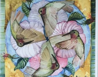 """Hummingbird Mandala Print 10 1/2"""" x 10 1/2"""""""