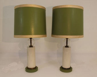 Mid Century Modern Monumental Pair of Paul Hanson Lamps with Original Shades