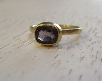 Deep Purple Spinel Ring| 14k Recycled Yellow Gold| 7x5mm Oval Spinel