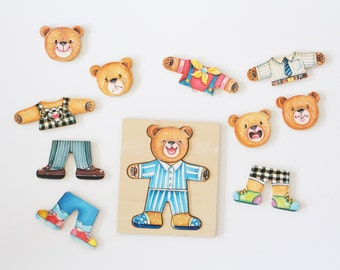 Vintage bears puzzle wooden toy teddy game mood game tile-based children