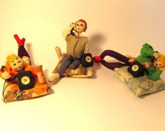 Vintage Set of 3 Molded Felt Dolls / 1950's - 60's Teenagers / Felt Figurines / Made in Japan