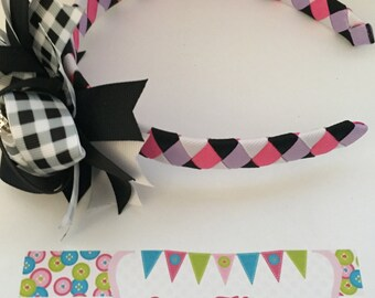 Pink, Lavender, Black, and White 3-in-1 bow headband