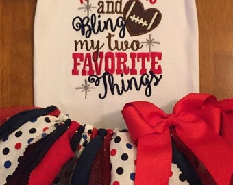 ON SALE Touchdowns and Bling My Two Favorite Things Football Team Spirit Scrap Fabric Tutu Outfit
