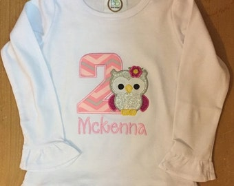 ON SALE Pink, grey, and silver girly owl birthday shirt or baby bodysuit