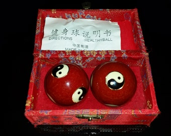 Yin and Yang Chinese Chiming Health Balls in Asian Silk Storage Box