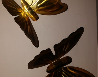 Vintage Brass Butterflies Wall Art