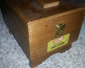 Mid Century Kiwi Genuine Oak Shoe Server Shoe Shine Box