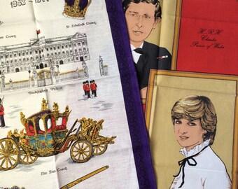 Vintage Royal Souvenir Tea Towels, Silver Jubilee and Royal Wedding, Brand New, 1977 Silver Jubilee and 1981 Charles and Diana Royal Wedding