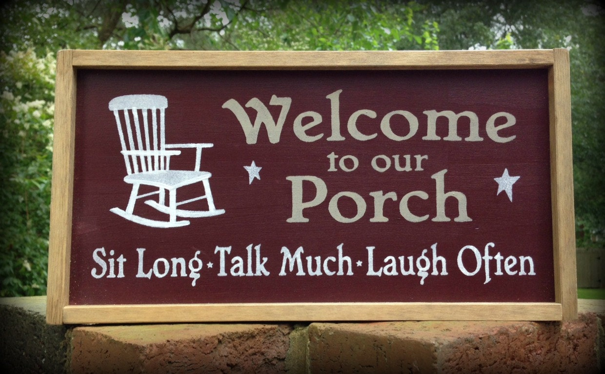 Country porch sign front porch sign by asentimentalseason for Country porch coupon code