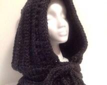 Dark mori, woodland, forest, chunky knitted cowl, soft  wool woodland hood
