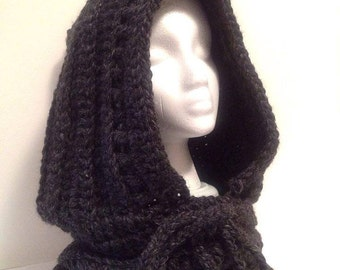 Mens or women's Dark gray hooded scarf hand knit Dark mori, woodland, forest, chunky knitted cowl, soft  wool hood