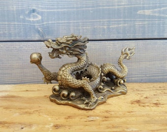 Brass Dragon, Vintage Dragon Figurine, Fire Breathing Animal, Mythical Creatures, Magical Fantasy, Pearl Of Wisdom, Serpent Fairy Tale, Gift