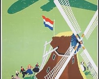 Vintage KLM Dutch Airlines Poster A3 Print