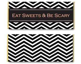 Black And White Halloween Candy Wrappers - Eat Sweets And Be Scary - Chevron Chocolate Bar Wrappers - Printable Halloween Wrappers