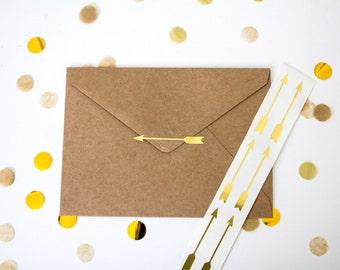 48 Metallic Gold Stickers // Arrow