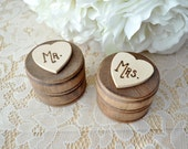 Set of Two EXTRA SMALL Personalized Round Engraved Wood Burned Rustic Wooden Wedding Ring Boxes Mr. Mrs. Ring Bearer Boxes
